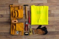 Asortowani prac narzędzia na drewnie Obraz Royalty Free