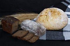 Asortowani różni rodzaje biel i czarny chleb na czarnym tle Zdjęcie Stock