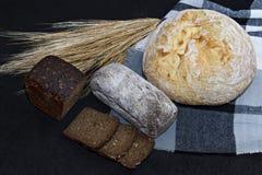 Asortowani różni rodzaje biel i czarny chleb na czarnym tle Obraz Royalty Free
