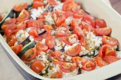 Asortowani warzywa z serowym piekarnikiem piec na grillu Zdjęcia Royalty Free