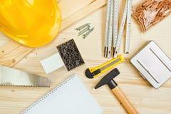 Asortowani Woodwork, ciesielki i budowy narzędzia Obraz Stock