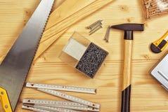 Asortowani Woodwork, ciesielki i budowy narzędzia Zdjęcie Royalty Free