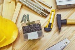 Asortowani Woodwork, ciesielki i budowy narzędzia Fotografia Royalty Free