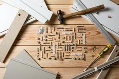 Asortowani Woodwork, ciesielki i budowy narzędzia, sosnowy drewno Zdjęcia Royalty Free