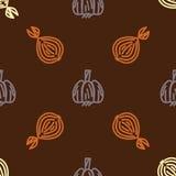 Asortowany jarzynowy wektorowy bezszwowy wzór z gurlic i cebulkowym Zdjęcie Royalty Free