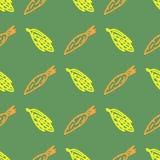 Asortowany jarzynowy wektorowy bezszwowy wzór z marchewką i kukurudzą Obrazy Stock