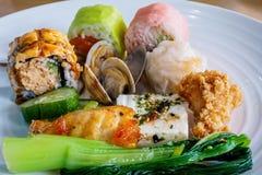 Asortowany jedzenie na talerzu Obraz Stock
