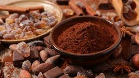 Asortowany kakao, dokrętka i cukier, zdjęcia royalty free