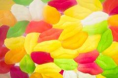 Asortowany kolorowy owocowy cukierek galaretowacieje tło Obrazy Royalty Free