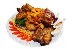 asortowany smażący mięso Zdjęcia Royalty Free