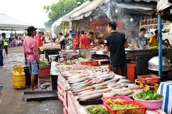 Asortowany typ piec na grillu owoce morza ryba dla gościa restauracji przy Kot Kinabal Fotografia Royalty Free