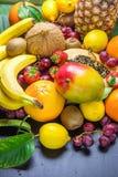 Asortyment Świeża Tropikalna i lato Sezonowych owoc melonowa pomarańcz kiwi bananów Ananasowych Mangowych Kokosowych cytryn Grape Obrazy Royalty Free