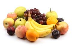 Asortyment świeże owoc odizolowywać na bielu Zdjęcia Stock