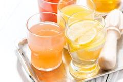 asortyment świezi cytrusów soki w szkłach na białym tle Obraz Stock
