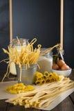 Asortyment domowej roboty świeży jajeczny makaron Zdjęcia Royalty Free