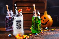 Asortyment Halloween napoje na grunge tle Obraz Stock