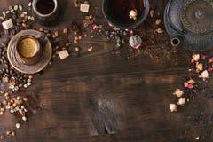 Asortyment herbata i kawa jako tło zdjęcie stock