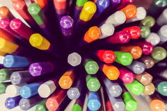 Asortyment kolorów ołówków zamknięty up Zdjęcie Stock