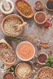 Asortyment legumes, adra i ziarna, Zdjęcie Stock