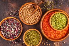 Asortyment Legumes soczewicy, grochy, Mung, chickpeas i r??ne fasole -, obraz royalty free