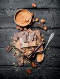 Asortyment różni typy czekolada z kakaowym proszkiem zdjęcia royalty free