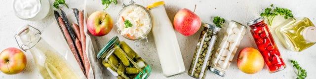 Asortyment różnorodny fermentujący jedzenie zdjęcie royalty free