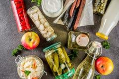 Asortyment różnorodny fermentujący jedzenie fotografia stock