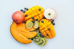 Asortyment soczysta tropial owoc na bia?ym tle Plasterki na melonie, pomara?czowym mango, kiwi, wapnie, czarnych jagodach i jab?k obrazy royalty free