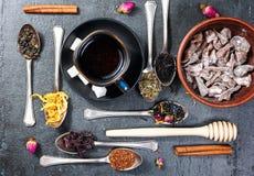 Asortyment sucha herbata i filiżanka gorąca herbata Zielona herbata, czarna herbata, zielona herbata, rooibos, susi wzrastał pącz Obraz Royalty Free
