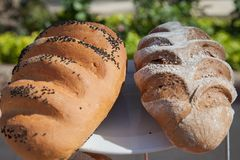 Asortyment towary, chleb i piekarnie piec, Mieszanka chleb Servind chleby piekarzi Fotografia Royalty Free