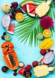 Asortyment tropikalne egzotyczne owoc niebieska t?a kosmos kopii Odg?rny widok obrazy royalty free