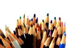 Asortyment wielo- barwioni ołówki na bielu Zdjęcie Stock