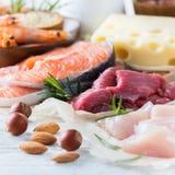 Asortyment zdrowy proteinowy źródło i ciało budynku jedzenie Fotografia Royalty Free