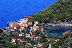 Asos村庄,凯法利尼亚岛 库存照片