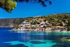 Asos-Dorf, Cephalonia Stockbild