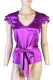 Atłasowa purpurowa bluzka na bielu Zdjęcia Stock