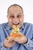 łasowania faceta pizzy plasterek Fotografia Royalty Free