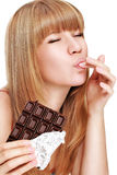 łasowanie czekoladowa kobieta Zdjęcia Royalty Free