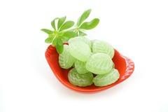 Aspérula e doces no prato de porcelana fotografia de stock
