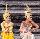 Aspara舞蹈家柬埔寨 库存照片