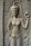 Aspara Dancer. Relief of an Aspara dancer at the ancient temple of Angkor Wat, Cambodia Royalty Free Stock Photography