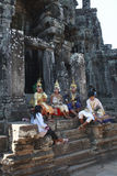 Aspara Dancer at Angkor Wat resting before dancing Royalty Free Stock Images