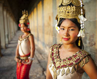 Aspara Dancers. In Angkor Wat, Cambodia royalty free stock photography