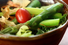 Aspara Salad 3. Asparagus salad with onion dressing in a bowl Stock Images