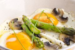 Asparagi with fried egg Royalty Free Stock Images
