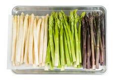 Asparago bianco, verde e porpora Fotografia Stock Libera da Diritti