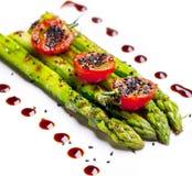 Asparago verde fritto Fotografie Stock