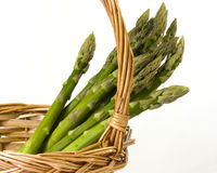 Asparagus. Fresh asparagus tips in a wicker basket Stock Photography