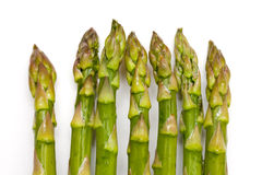 Asparagus. Tips on isolated white background royalty free stock image