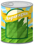 Asparagus in aluminum can Royalty Free Stock Images